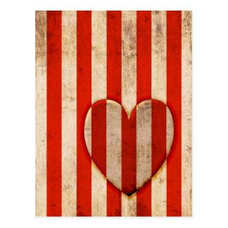 Vintage Heart Red Stripes Postcard