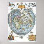 Vintage Heart Shaped Antique World Map Peter Apian
