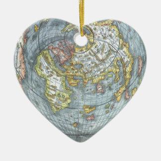 Vintage Heart Shaped Antique World Map Peter Apian Ceramic Heart Decoration