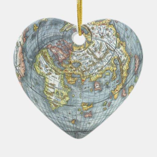 Vintage Heart Shaped Antique World Map Peter Apian Ornament