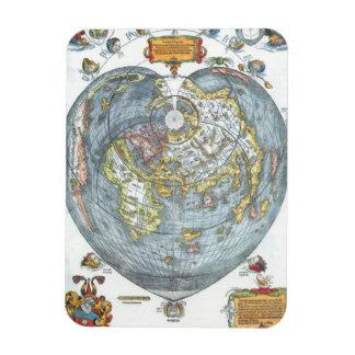 Vintage Heart Shaped Antique World Map Peter Apian Rectangular Photo Magnet