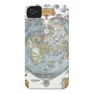 Vintage Heart Shaped Antique World Map Peter Apian iPhone 4 Covers