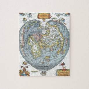 Vintage Heart Shaped Antique World Map Peter Apian Jigsaw Puzzle