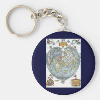 Vintage Heart Shaped Antique World Map Peter Apian Key Ring