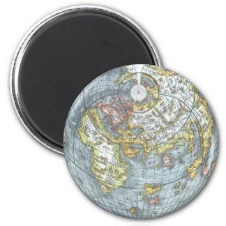 Vintage Heart Shaped Antique World Map Peter Apian Magnets
