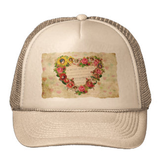 Vintage Hearts and Flowers Trucker Hat