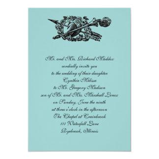 Vintage Hearts & Arrows Wedding Invitation