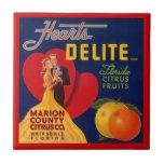Vintage Hearts Delite FL Fruit Crate Label Tile