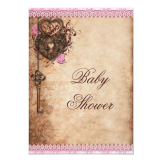 Vintage Hearts Lock and Key Girl Baby Shower Card