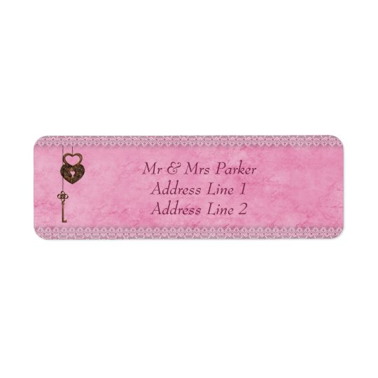 Vintage Hearts Lock and Key Pink Personalised Return Address Label