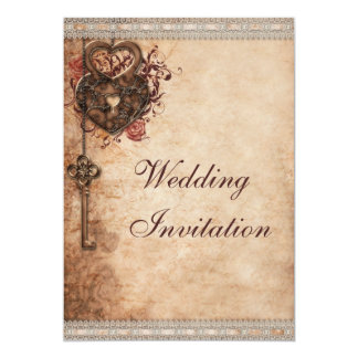 Vintage Hearts Lock and Key Wedding 13 Cm X 18 Cm Invitation Card