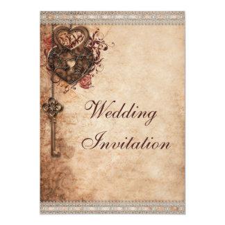 Vintage Hearts Lock and Key Wedding 13 Cm X 18 Cm Invitation Card