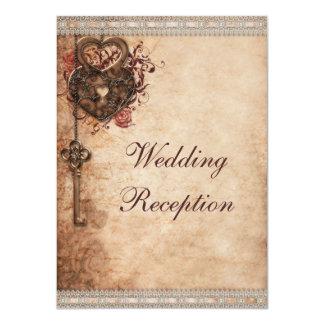 Vintage Hearts Lock and Key Wedding Reception 11 Cm X 16 Cm Invitation Card