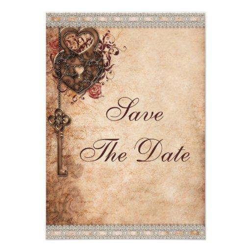 Vintage Hearts Lock and Key Wedding Save The Date Personalized Invitations