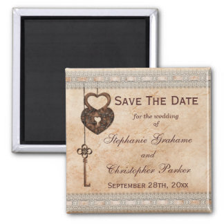 Vintage Hearts Lock and Key Wedding Save The Date Magnet