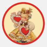 Vintage Hearts Sweetheart Round Sticker
