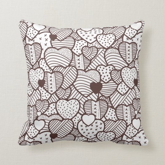 Vintage Hearts Valentine's Day Throw Pillow