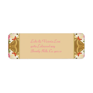 Vintage Hearts With Roses & Butterflies Wedding Return Address Label