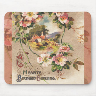 Vintage Hearty Birthday Greetings Floral Landscape Mouse Pads