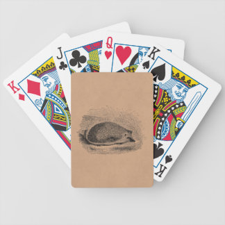 Vintage Hedgehog 1800s Hedgehogs Illustration Bicycle Playing Cards