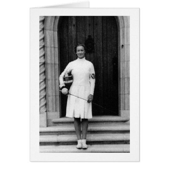Vintage Helene Mayer Fencing Photo Note Card