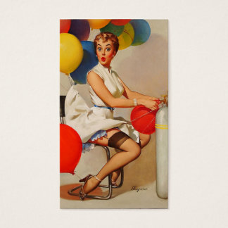 Vintage helium Party balloons Elvgren Pin up Girl Business Card