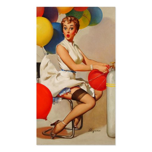 Vintage helium Party balloons Elvgren Pin up Girl Business Card Template