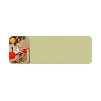 Vintage helium Party balloons Elvgren Pin up Girl Return Address Label