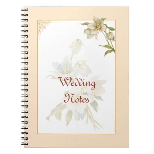 Vintage hellebores wedding notebook