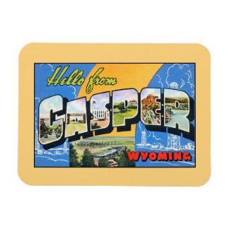 Vintage hello from Casper Wyoming Rectangular Photo Magnet