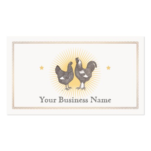 Vintage Hen and  Rooster Etching Business Card