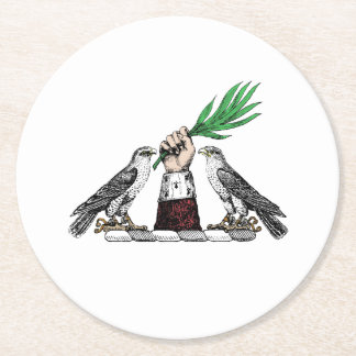 Vintage Heraldic Falcons With Hand Crest Emblem Round Paper Coaster