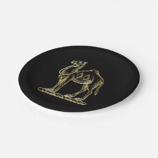 Vintage Heraldic Gold Camel Coat of Arms Emblem Paper Plate
