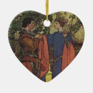 Vintage Hero Prince Knight Shining Armor Princess Ceramic Heart Decoration