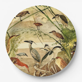 Vintage Heron Birds Animals Wildlife Paper Plates