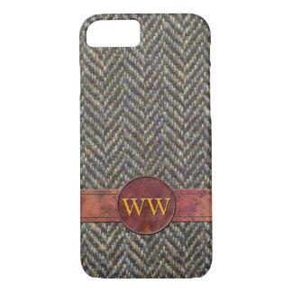 Vintage Herringbone Tweed and Leather Monogram iPhone 7 Case