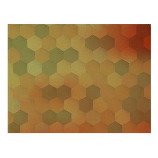 Vintage hexagon honeycomb pattern postcard