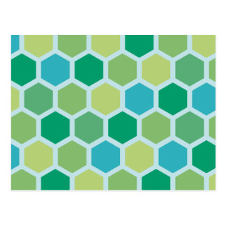 Vintage hexagonal pattern postcard