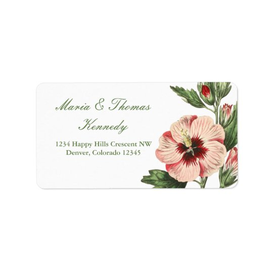 Vintage Hibiscus Floral Address Mailing Labels