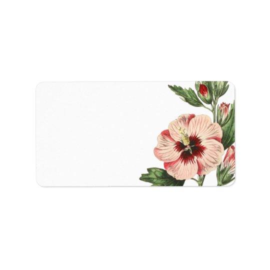 Vintage Hibiscus Floral Blank Mailing Labels