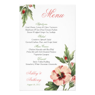 Vintage Hibiscus Floral Wedding Wedding Menu Card 14 Cm X 21.5 Cm Flyer