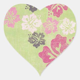 Vintage Hibiscus Heart Sticker