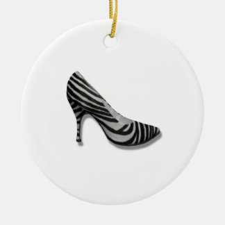 Vintage High Heel Zebra Stripe Shoes Pump Round Ceramic Decoration
