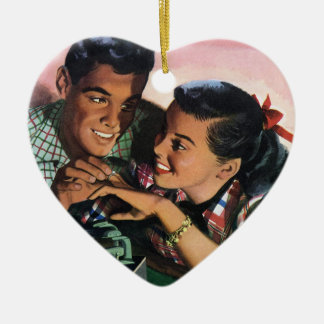 Vintage High School Sweet Hearts, Promise Ring Christmas Ornament