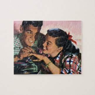 Vintage High School Sweet Hearts, Promise Ring Jigsaw Puzzle