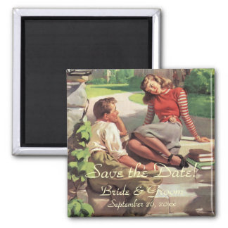 Vintage High School Sweet Hearts Save the Date Magnet