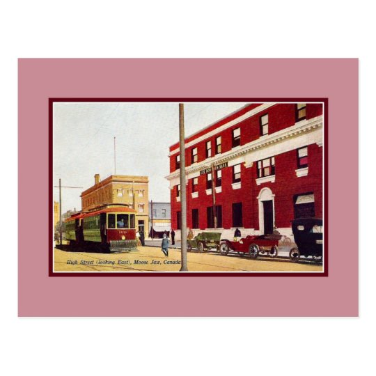 Vintage High Street Moose Jaw Canada Postcard