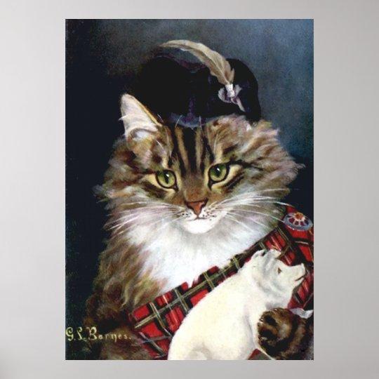 Vintage Highland Dress Cat Art Poster Print