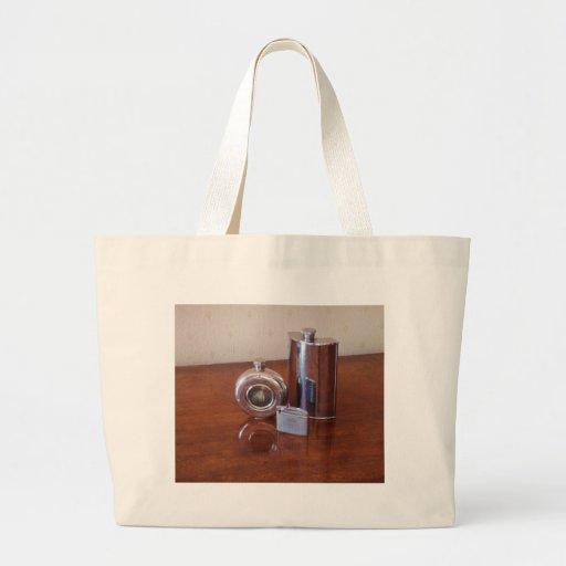 Vintage Hip Flasks And Lighter Tote Bags