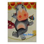 Vintage Hippo Birthday Greeting Card
